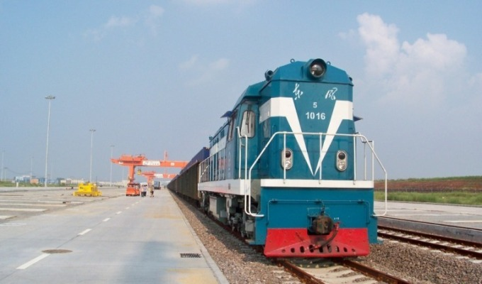 Train Container Distribution Hub in Qingdao,China